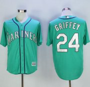 Wholesale Cheap Mariners #24 Ken Griffey Green New Cool Base 2016 Hall Of Fame Patch Stitched MLB Jersey