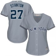 Wholesale Cheap Yankees #27 Giancarlo Stanton Grey Road Women's Stitched MLB Jersey