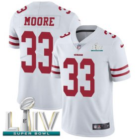 Wholesale Cheap Nike 49ers #33 Tarvarius Moore White Super Bowl LIV 2020 Youth Stitched NFL Vapor Untouchable Limited Jersey