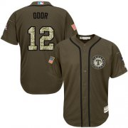 Wholesale Cheap Rangers #12 Rougned Odor Green Salute to Service Stitched Youth MLB Jersey