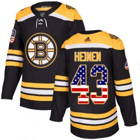 Wholesale Cheap Adidas Bruins #43 Danton Heinen Black Home Authentic USA Flag Stitched NHL Jersey