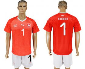 Wholesale Cheap Switzerland #1 Sommer Red Home Soccer Country Jersey