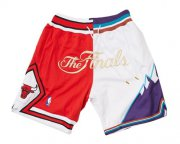 Wholesale Cheap 1997 NBA Finals Bulls x Jazz Shorts (Red-White) JUST DON By Mitchell & Ness