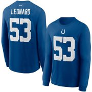 Wholesale Cheap Indianapolis Colts #53 Darius Leonard Nike Player Name & Number Long Sleeve T-Shirt Royal