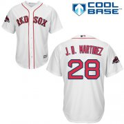 Wholesale Cheap Red Sox #28 J. D. Martinez White New Cool Base 2018 World Series Champions Stitched MLB Jersey