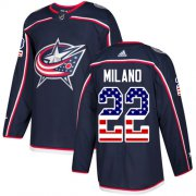 Wholesale Cheap Adidas Blue Jackets #22 Sonny Milano Navy Blue Home Authentic USA Flag Stitched Youth NHL Jersey