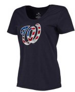 Wholesale Cheap Women's Washington Nationals USA Flag Fashion T-Shirt Navy Blue