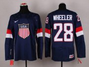 Wholesale Cheap 2014 Olympic Team USA #28 Blake Wheeler Navy Blue Stitched NHL Jersey
