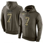 Wholesale Cheap NFL Men's Nike Jacksonville Jaguars #7 Nick Foles Stitched Green Olive Salute To Service KO Performance Hoodie