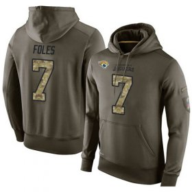 Wholesale Cheap NFL Men\'s Nike Jacksonville Jaguars #7 Nick Foles Stitched Green Olive Salute To Service KO Performance Hoodie