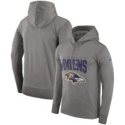 Wholesale Cheap Baltimore Ravens Nike Sideline Property of Performance Pullover Hoodie Gray
