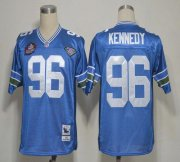 Wholesale Cheap Mitchell And Ness Hall of Fame 2012 Seahawks #96 Cortez Kennedy Blue Stitched Throwback NFL Jersey
