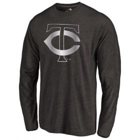 Wholesale Cheap Minnesota Twins Platinum Collection Long Sleeve Tri-Blend T-Shirt Black
