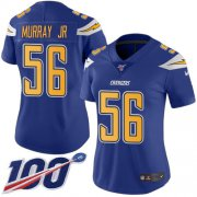 Wholesale Cheap Nike Chargers #56 Kenneth Murray Jr Electric Blue Women's Stitched NFL Limited Rush 100th Season Jersey