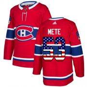 Wholesale Cheap Adidas Canadiens #53 Victor Mete Red Home Authentic USA Flag Stitched NHL Jersey