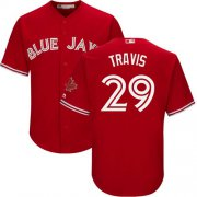 Wholesale Cheap Blue Jays #29 Devon Travis Red Cool Base Canada Day Stitched Youth MLB Jersey