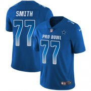 Wholesale Cheap Nike Cowboys #77 Tyron Smith Royal Youth Stitched NFL Limited NFC 2018 Pro Bowl Jersey
