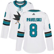 Wholesale Cheap Adidas Sharks #8 Joe Pavelski White Road Authentic Women's Stitched NHL Jersey