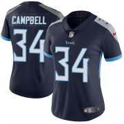 Wholesale Cheap Nike Titans #34 Earl Campbell Navy Blue Team Color Women's Stitched NFL Vapor Untouchable Limited Jersey