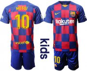 Wholesale Cheap Barcelona #10 Messi Home Kid Soccer Club Jersey