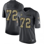 Wholesale Cheap Nike Vikings #72 Ezra Cleveland Black Youth Stitched NFL Limited 2016 Salute to Service Jersey