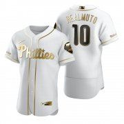 Wholesale Cheap Philadelphia Phillies #10 JT Realmuto White Nike Men's Authentic Golden Edition MLB Jersey