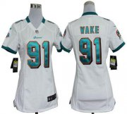 Wholesale Cheap Nike Dolphins #91 Cameron Wake White Women's Stitched NFL Elite Jersey