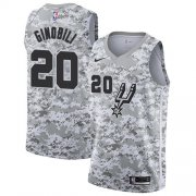 Wholesale Cheap Men's Nike San Antonio Spurs #20 Manu Ginobili White Camo Basketball Swingman Earned Edition Jersey