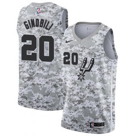 Wholesale Cheap Men\'s Nike San Antonio Spurs #20 Manu Ginobili White Camo Basketball Swingman Earned Edition Jersey