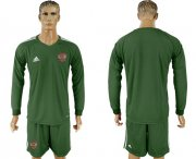 Wholesale Cheap Russia Blank Army Green Long Sleeves Goalkeeper Soccer Country Jersey