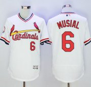 Wholesale Cheap Cardinals #6 Stan Musial White Flexbase Authentic Collection Cooperstown Stitched MLB Jersey
