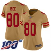 Wholesale Cheap Nike 49ers #80 Jerry Rice Gold Women's Stitched NFL Limited Inverted Legend 100th Season Jersey