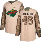 Wholesale Cheap Adidas Wild #46 Jared Spurgeon Camo Authentic 2017 Veterans Day Stitched Youth NHL Jersey