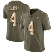 Wholesale Cheap Nike Eagles #4 Jake Elliott Olive/Gold Men's Stitched NFL Limited 2017 Salute To Service Jersey