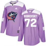 Wholesale Cheap Adidas Blue Jackets #72 Sergei Bobrovsky Purple Authentic Fights Cancer Stitched Youth NHL Jersey