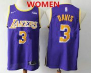 Wholesale Cheap Women's Los Angeles Lakers #3 Anthony Davis 2019 Purple Nike Swingman Wish Stitched NBA Jersey