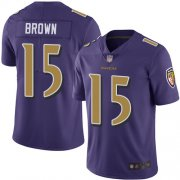 Wholesale Cheap Nike Ravens #15 Marquise Brown Purple Men's Stitched NFL Limited Rush Jersey