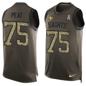 Wholesale Cheap Nike Saints #75 Andrus Peat Green Men\'s Stitched NFL Limited Salute To Service Tank Top Jersey