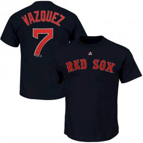 Wholesale Cheap Boston Red Sox #7 Christian Vazquez Majestic Official Name and Number T-Shirt Navy