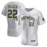 Wholesale Cheap Milwaukee Brewers Christian Yelich Men's Nike White Home 2020 Authentic Player MLB Jersey