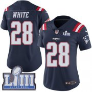 Wholesale Cheap Nike Patriots #28 James White Navy Blue Super Bowl LIII Bound Women's Stitched NFL Limited Rush Jersey