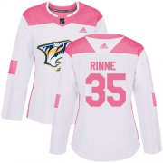 Wholesale Cheap Adidas Predators #35 Pekka Rinne White/Pink Authentic Fashion Women's Stitched NHL Jersey