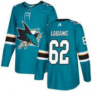 Wholesale Cheap Adidas Sharks #62 Kevin Labanc Teal Home Authentic Stitched NHL Jersey