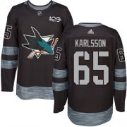 Wholesale Cheap Adidas Sharks #65 Erik Karlsson Black 1917-2017 100th Anniversary Stitched NHL Jersey
