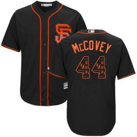 Wholesale Cheap Giants #44 Willie McCovey Black Team Logo Fashion Stitched MLB Jersey