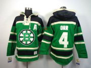 Wholesale Cheap Bruins #4 Bobby Orr Green St. Patrick's Day McNary Lace Hoodie Stitched NHL Jersey
