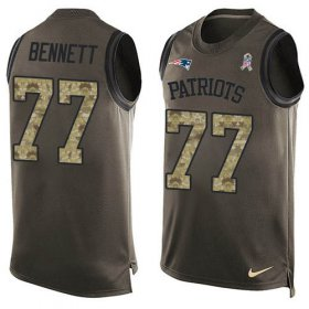 Wholesale Cheap Nike Patriots #77 Michael Bennett Green Men\'s Stitched NFL Limited Salute To Service Tank Top Jersey