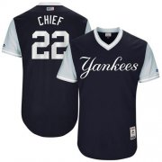 "Wholesale Cheap Yankees #22 Jacoby Ellsbury Navy ""Chief"" Players Weekend Authentic Stitched MLB Jersey"