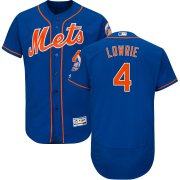 Wholesale Cheap New York Mets #4 Jed Lowrie Alternate Authentic Collection Flex Base Royal Stitched MLB Jersey
