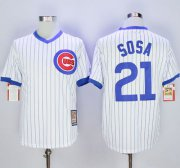 Wholesale Cheap Cubs #21 Sammy Sosa White Strip Home Cooperstown Stitched MLB Jersey